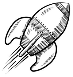 Doodle rocket vector