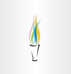Olympic fire torch colorful flame icon vector