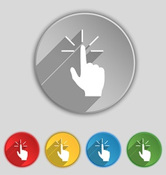 Click here hand icon sign symbol on five flat vector