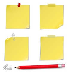 Adhesive notes with pin and pencil vector