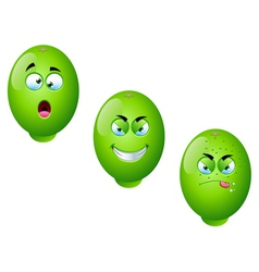 Cartoon lime fruit set 2 vector