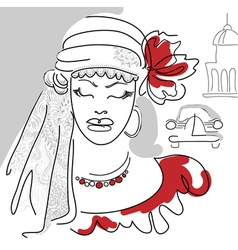 Cuban woman with red flower red bead and dress vector