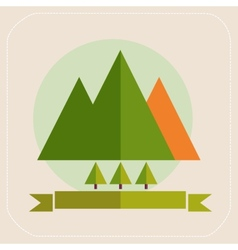 Mountains and trees tourism flat icons vector