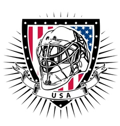 Ice hockey helmet shield usa vector