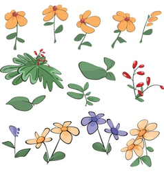Flowers grass plants cartoon vector