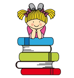 Little girl with many books vector