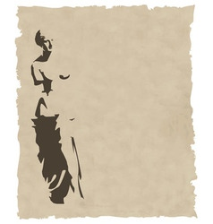 Venus silhouette on old paper vector