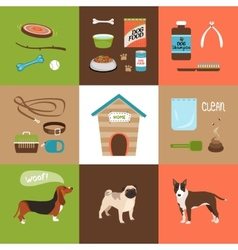 Dogs and dog accessories vector