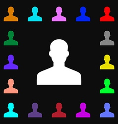 User person log in icon sign lots of colorful vector