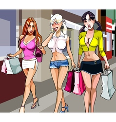 Three cartoon women with shopping walking vector