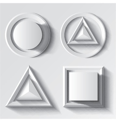 Realistic white geometrical shape set vector