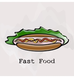Hot dog in a watercolor style vector