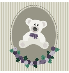 Vintage greeting card with white bear vector