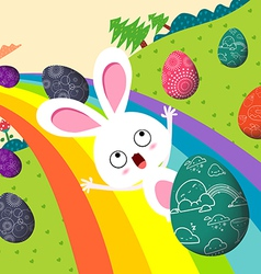 Happy easter eggs with rainbow colorful vector