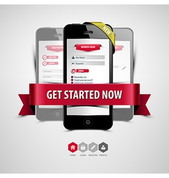 Register and login from your smartphone vector