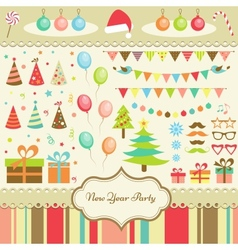 Set of new year party elements vector