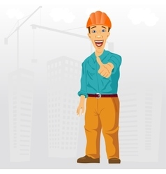 Construction project engineer giving thumbs up vector