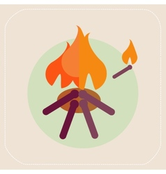 Wooden camp fire icon vector