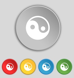 Ying yang icon sign symbol on five flat buttons vector