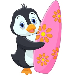 Penguin holding surfing board vector