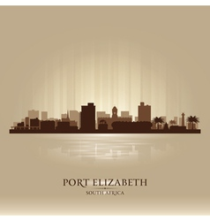 Port elizabeth south africa city skyline silhouet vector