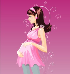 Pregnant woman in purple pregnant dress vector