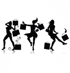 Shopping girl silhouettes vector