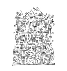Drawing contour town vector