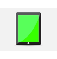 Realistic black tablet with green blank screen vector