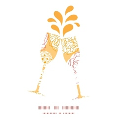 Warm day flowers toasting wine glasses silhouettes vector