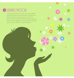 Female silhouette with flowers 2 vector