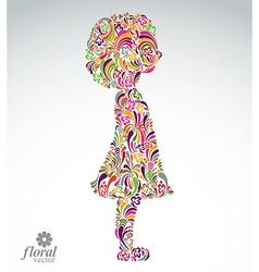 Creative of a girl with a short hair cute teenage vector