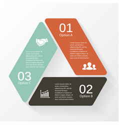 Triangle infographic diagram 3 options steps vector