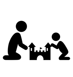 Pictograms flat family icon with sand castle vector