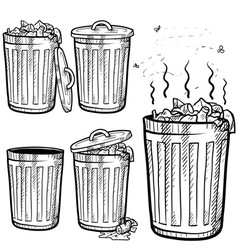 Doodle trash can cans garbage rubbish vector