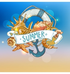 Summer card with sea shells anchor lifeline vector