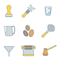 Color outline coffee barista instruments icons set vector