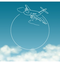 Airplane on background of cloudy sky with space vector