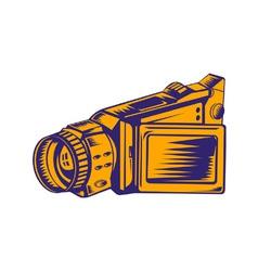 Video camera recorder woodcut vector