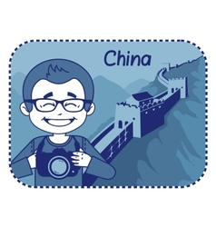 Teaser with photographer travels through china vector