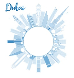 Outline dubai city skyline with blue skyscrapers vector