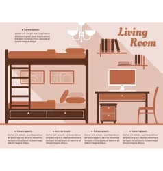 Living room interior decor infographic vector