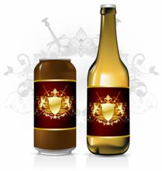 Beverage label vector