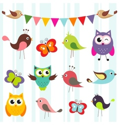 Birds and butterflies vector