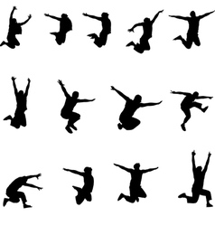 Set of images jumping athlete eps10 vector