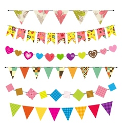 Textured bunting and garland set vector