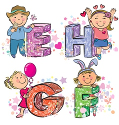 Funny alphabet with kids efgh vector