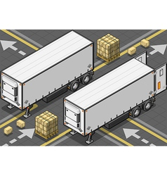 Isometric tow fridge container truck in front view vector