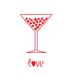 Martini glass with hearts inside card vector