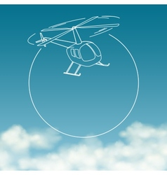 Helicopter on background of cloudy sky with space vector